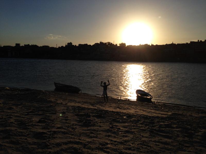 sunset in the ganga
